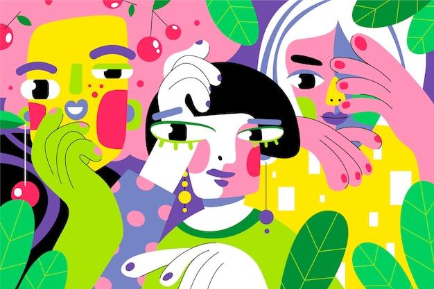Portrait design plat dans un style artistique aux couleurs vives