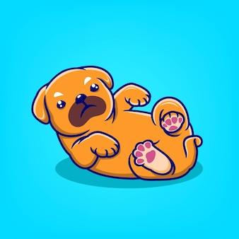 Portrait dessin animé chien mignon posant illustration vectorielle