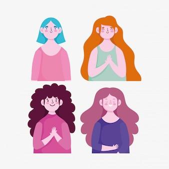 Portrait dessin animé femmes caractère jeune avatar ensemble