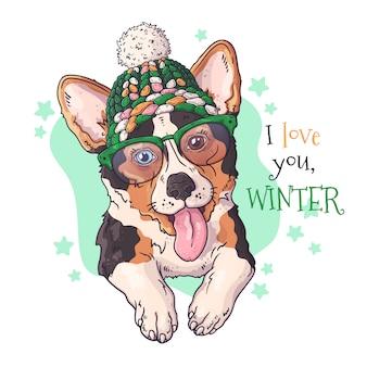 Portrait dessiné de main de chien corgi dans les accessoires de noël
