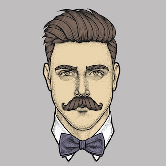 Portrait dessiné à la main d'un homme moustachu plein visage. illustration.