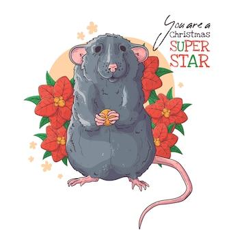 Portrait dessiné à la main de rat avec vecteur de fleurs de noël.