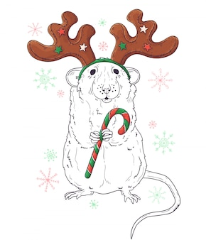 Portrait dessiné de rat à noël