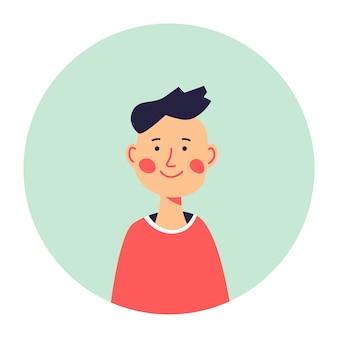 Portrait d'écolier ou d'enfant en cercle, icône isolée de petit garçon avec le sourire sur le visage. personnage masculin posant pour la photo. jeune génération, élève ou étudiant de l'école. vecteur de personnage à plat