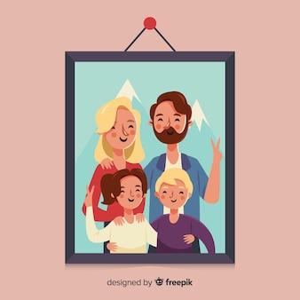 Portrait de famille dessiné à la main dans un cadre