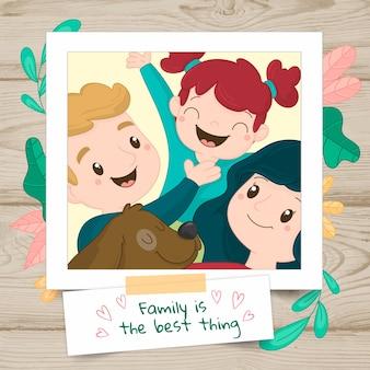 Portrait de famille dessiné à la main dans un polaroid