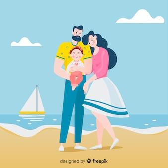 Portrait de famille dessiné à la main à la plage