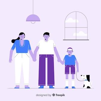 Portrait de famille dessiné à la main tenant par la main