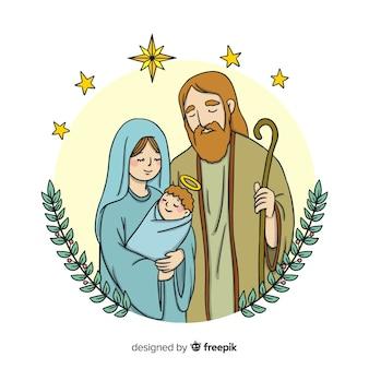 Portrait de famille fond de nativité