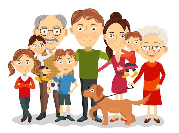 Portrait de famille grand et heureux avec enfants, parents, illustration des grands-parents