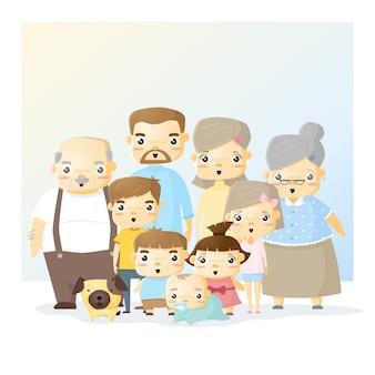 Portrait de famille mignon grand fond de famille