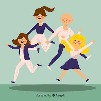 Portrait de famille sautant dessiné à la main
