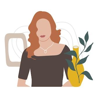 Portrait de femme abstrait dessiné à la main