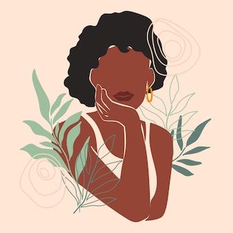 Portrait de femme abstraite dessiné à la main