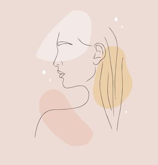 Portrait de femme abstraite sur fond beige avec différentes formes.
