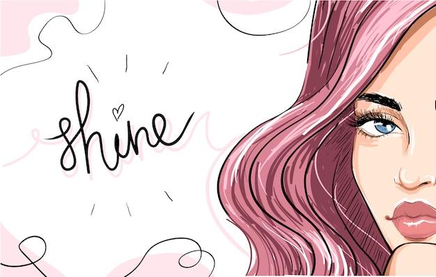 Portrait de femme aux cheveux roses et lettrage de brillance