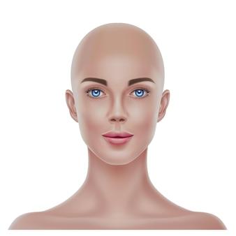 Portrait de femme chauve réaliste