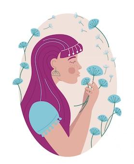 Portrait de femme dans un cadre ovale de pissenlits