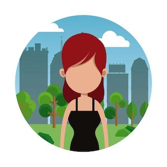 Portrait de femme fond de ville
