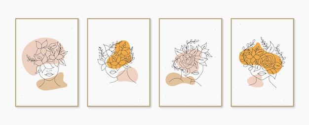 Portrait de femme en ligne avec ensemble de fleurs affiches contemporaines minimalistes dessinées à la main