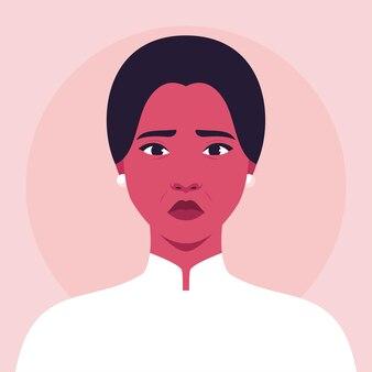 Portrait D'une Femme Triste Vecteur Premium