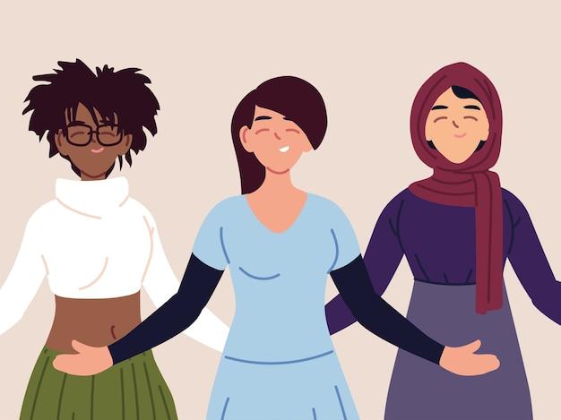 Portrait de femmes multiethniques ensemble, diversité ou multiculturelle.