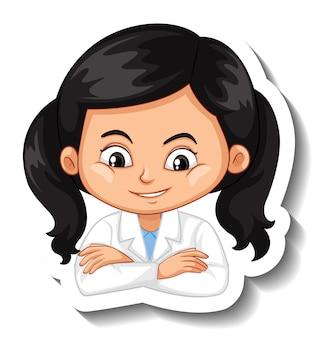 Portrait d'une fille en autocollant de personnage de dessin animé de robe de science