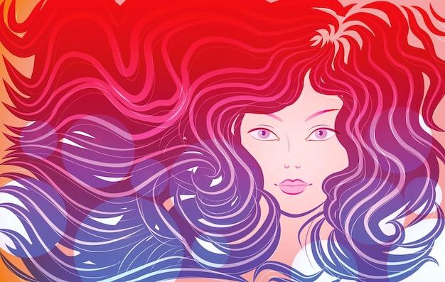 Portrait d'une fille aux longs cheveux roux illustration vectorielle