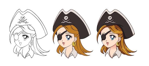 Portrait de fille de pirate anime mignon isolé sur blanc