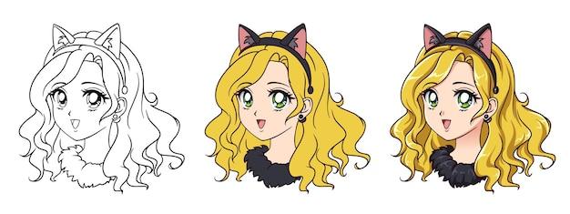 Portrait de fille de voiture anime mignon. trois versions: contour, couleurs plates, ombrage de cellule. illustration dessinée à la main de style anime rétro des années 90.