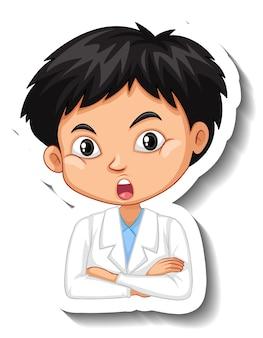 Portrait d'un garçon en autocollant de personnage de dessin animé de robe de science