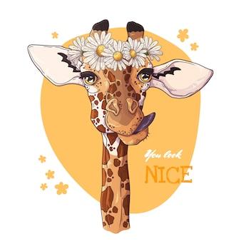 Portrait de girafe avec une couronne de pâquerettes.