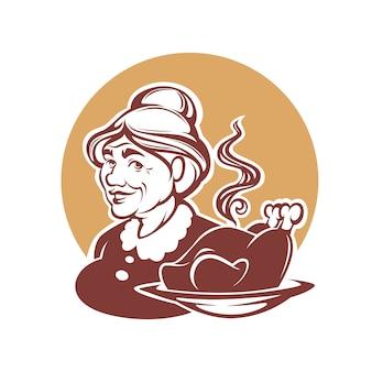 Portrait, de, grand-mère adorable, et, fait maison, nourriture dinde, pour, ton, logo