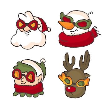Portrait de hipster de noël représentant un nain et un renne avec un bonhomme de neige