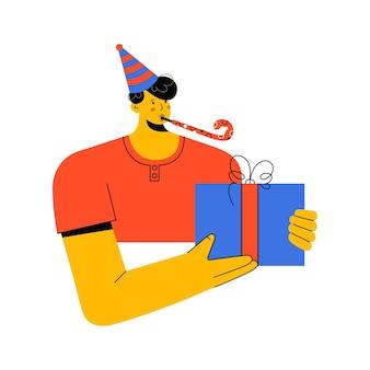 Portrait d'homme au chapeau avec éruption de fête donnant un cadeau