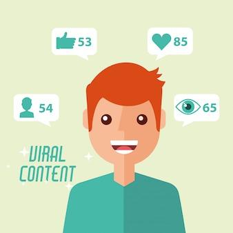 Portrait homme contenu viral internet