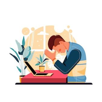 Portrait d'homme fatigué de travail, design plat