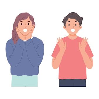 Portrait d'homme et femme avec geste surprise isolé