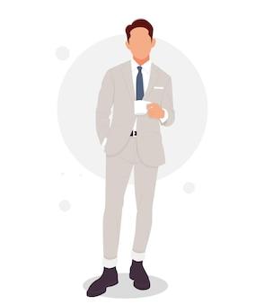 Portrait d'un homme posant dans des tenues élégantes