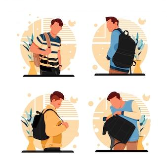Portrait d'hommes posant dans des tenues élégantes avec son sac. concept de design plat. illustration