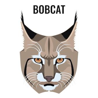 Portrait d'illustration vectorielle de lynx roux isolé sur blanc. espèce de chat à pelage barré et tacheté. gros plan d'un animal sauvage
