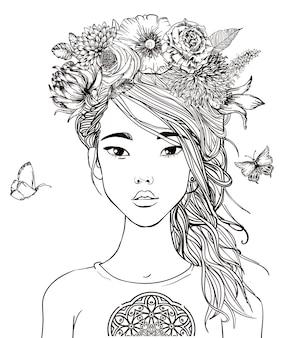 Portrait de jeune belle femme asiatique avec des fleurs