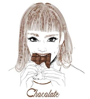 Portrait de jeune femme avec du chocolat à la main
