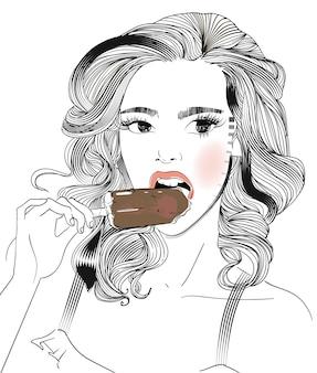 Portrait de jeune femme avec une glace à la main