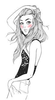 Portrait d'une jeune femme séduisante aux cheveux longs