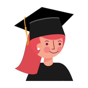 Portrait de jeune fille diplômée en illustration vectorielle de graduation chapeau