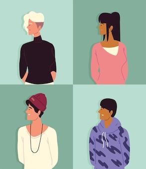 Portrait de jeunes, hommes femmes