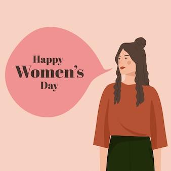 Portrait de jolie femme pour carte de fête des femmes