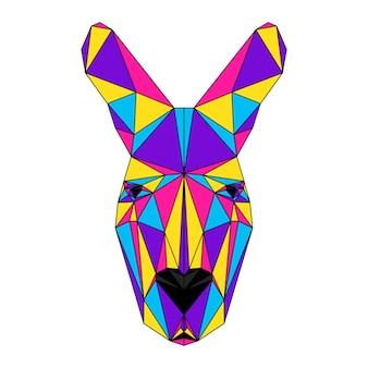 Portrait de kangourou polygonale abstrait. tête de kangourou moderne low poly isolée sur blanc pour carte, pancarte de clinique vétérinaire, invitation à une fête moderne, livre, affiche, impression de sac, t-shirt, etc.
