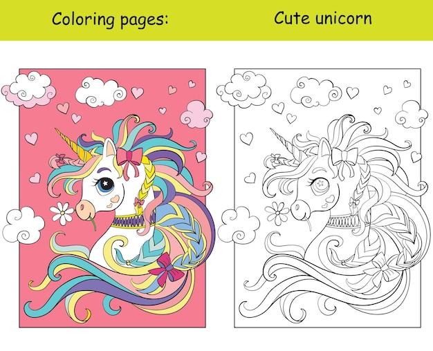Portrait de licorne mignon. page de livre de coloriage avec modèle coloré. illustration vectorielle.